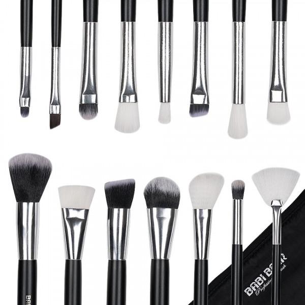 Poze Set 15 pensule machiaj Fabulous Youth, Black Silver + Borseta Cadou