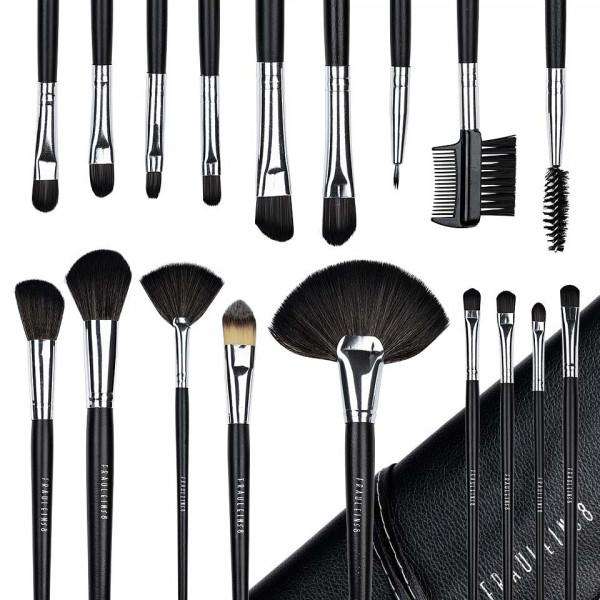 Poze Set 18 pensule machiaj Fraulein38 Studio Black + Borseta Cadou