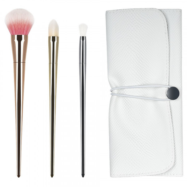 Poze Set 3 pensule machiaj din par natural Perfect Gift Collection + Borseta Cadou