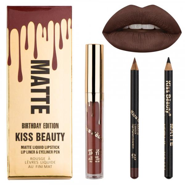 Poze Set Ruj Lichid Mat + Creioane Kiss Beauty Tuscan Brown #01