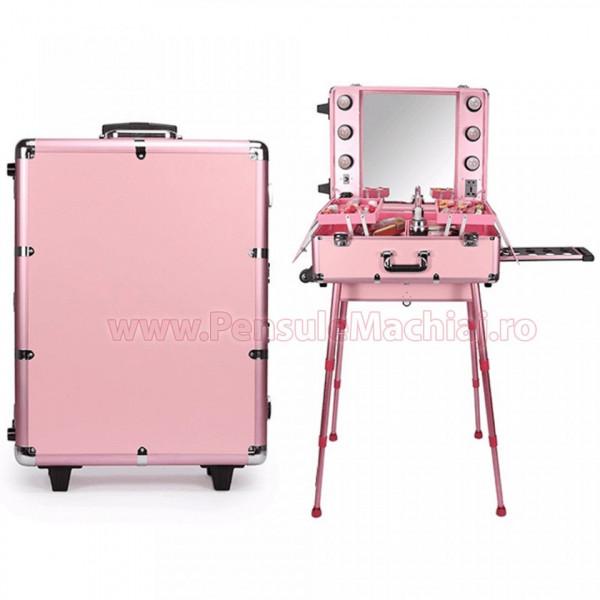 Poze Statie Profesionala Make-Up Premium - Statie de Machiaj culoarea Pink