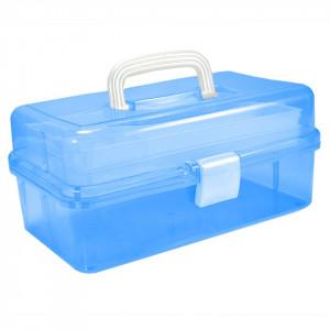 Cutie Cosmetice Compartimentata Albastru, cu doua sertare si maner