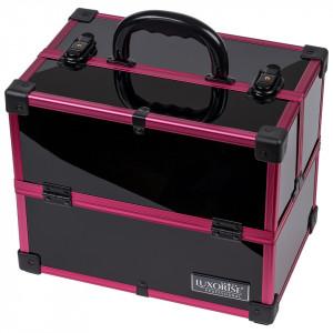 Geanta Makeup din Aluminiu, Black Case Magenta - LUXORISE