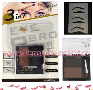 Kit Sprancene cu 2 nuante de pudra pentru definire - Eyebrow Powder Cake - #03 Light Maroon