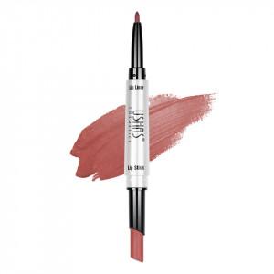 Ruj mat 2 in 1 cu creion de buze Ushas 3D Lip Deluxe #19