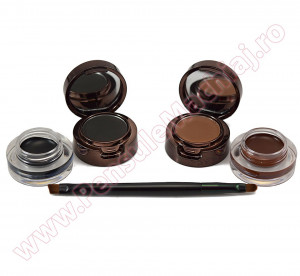 Set 2 in 1 Eyeliner Gel & Eyebrow Black & Brown + 1 pensula dubla