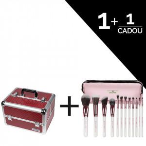 Geanta Makeup Diamond Red - SensoPRO Milano + CADOU Set 12 Pensule Machiaj