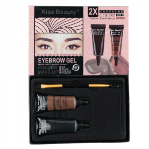 Kit sprancene 2 geluri + pensula aplicare #04 QuickBrow Kiss Beauty