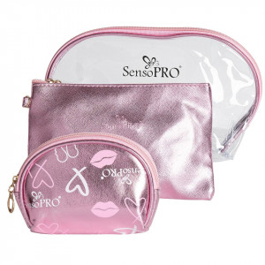 Portfard Travel Transparent & Pink, SensoPRO Liberty, set 3 buc
