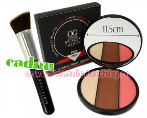 Trusa Pudra Contur, Blush & Iluminator fata 3 culori Sculpting Kit Pro + CADOU Pensula Machiaj Fraulein38 Exclusive