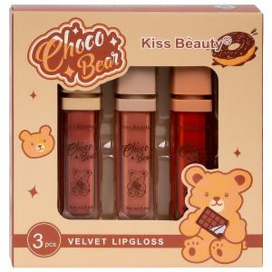 Set 3 Rujuri Lichide Mate Choco Bear Kiss Beauty Velvet Lipgloss A