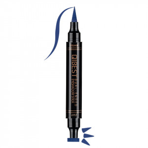 Eyeliner Colorat tip Carioca cu Stampila Ochi, Qibest Mirage Navy Blue #06