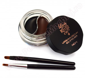 Eyeliner Gel 2 culori Long Lasting, Waterproof Black & Brown + 2 pensule