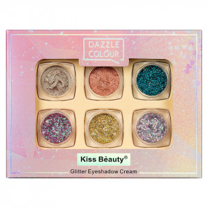 Fard de Pleoape Cremos Kiss Beauty Dazzle Colour, set 6 buc