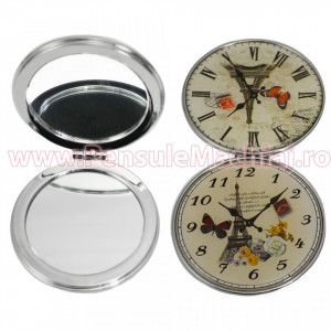 Oglinda de Poseta Cosmetica Rotunda Dubla - Fall Paris Clock 03
