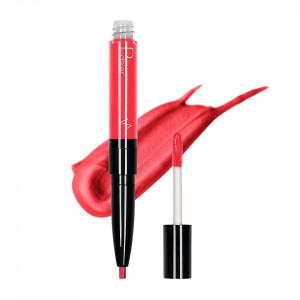 Ruj lichid mat 2 in 1 cu creion de buze Pudaier KissME #02
