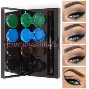 Set Eyeliner - Eyeshadow Gel  4 culori Smoked Makeup #03