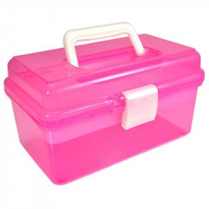 Cutie Cosmetice Compartimentata Roz, cu un sertar si maner