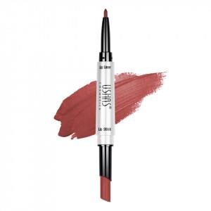 Ruj mat 2 in 1 cu creion de buze Ushas 3D Lip Deluxe #26