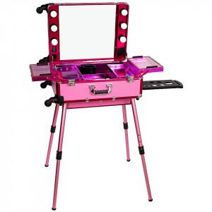 Statie Profesionala de Makeup Portabila Premium Roz