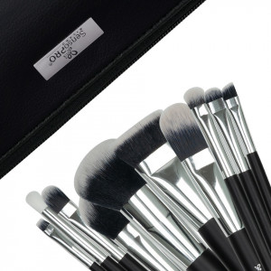 Set 10 pensule machiaj SensoPRO Milano, Black Silver + Borseta Cadou