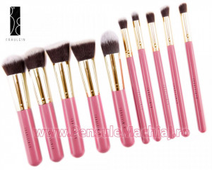 Set 10 pensule machiaj Fraulein38 Kabuki Exclusive Style - Iridescent Pink