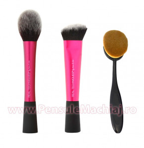 Set 3 pensule machiaj profesionale pentru fata Real Techniques - Powder, Angled Sculpting, Foundation Brushes
