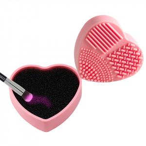 Accesoriu curatare pensule machiaj 2 in 1 Heart Shaped
