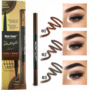 Creion sprancene 2 in 1 cu eyeliner lichid Music Flower