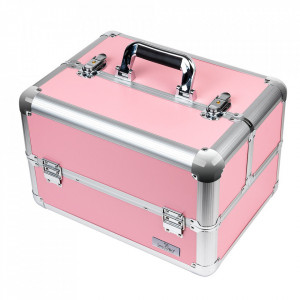 Geanta Produse Cosmetice SensoPRO Milano, Pastel Pink + CADOU Set 12 Pensule Machiaj