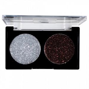 Glitter Ochi Pulbere Silver & Brown