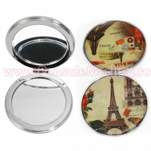 Oglinda de Poseta Cosmetica Rotunda Dubla - From Paris with Love 17