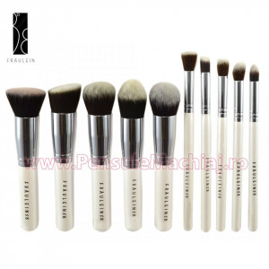 Set 10 pensule machiaj profesionale Fraulein38 Kabuki Exclusive Style - Sea Pearl