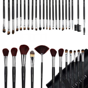 Set 34 pensule machiaj profesionale Fraulein38 Black Master Collection + Borseta Cadou