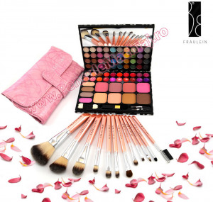 Trusa de Machiaj Profesionala cu 72 de Culori Multifunctionala Make Up Book + Set 12 pensule machiaj Pink Premium Fraulein38