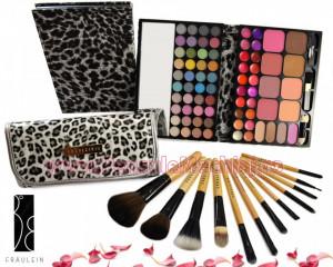 Trusa de Machiaj Profesionala cu 72 de Culori Multifunctionala Make Up Book + Set 12 pensule machiaj Fraulein38 Animal Print