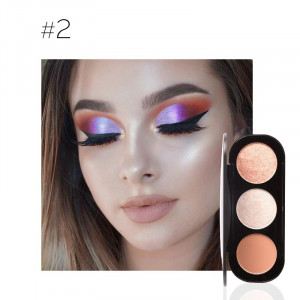 Trusa Blush & Iluminator 3 Culori Shimmer Make-up Palette Soft Beige