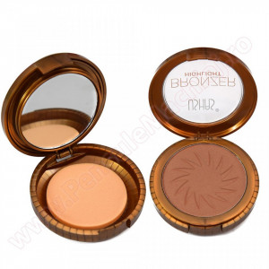 Trusa Bronzer Highlight cu buretel si oglinda  #03 - Dark Brown