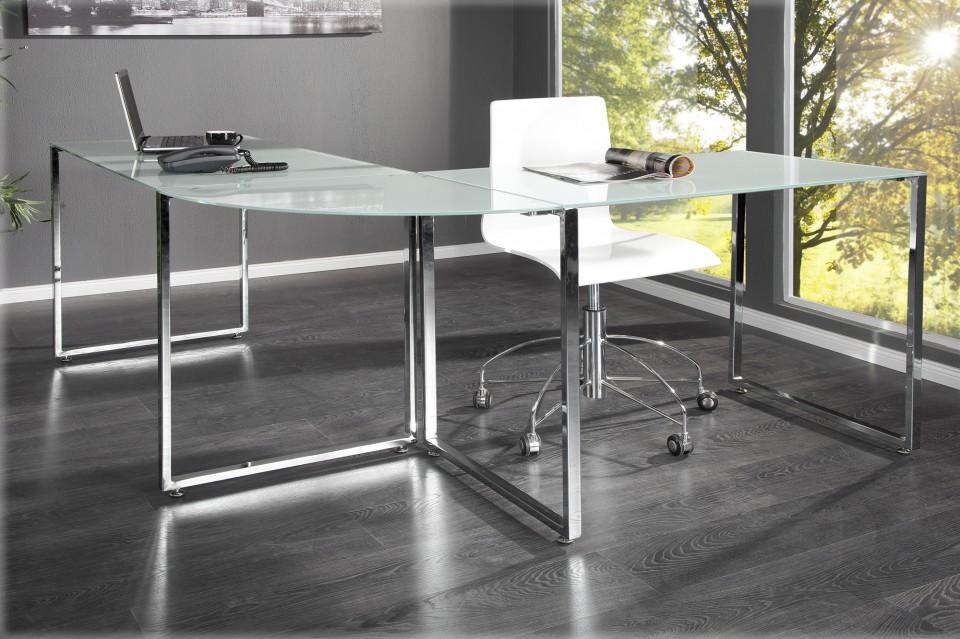 bureau model studio wit melkglas. Black Bedroom Furniture Sets. Home Design Ideas