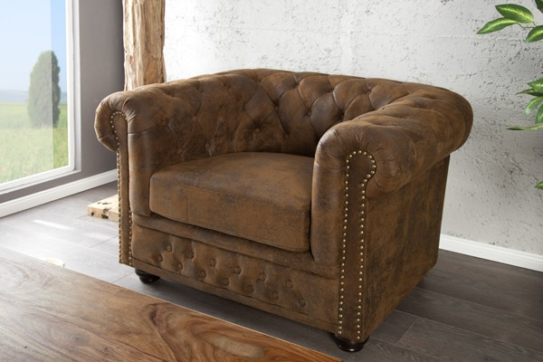 fauteuil model chesterfield antiek stof. Black Bedroom Furniture Sets. Home Design Ideas
