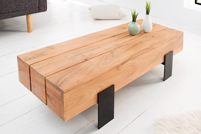 Houten Salontafel Design.Grote Salontafel Acacia Hout Lumberjack Speciale Leren Frame Van Mat