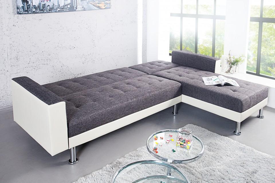 Loungebank model chaise slaapfunctie antraciet wit - Moderne hoek lounge ...