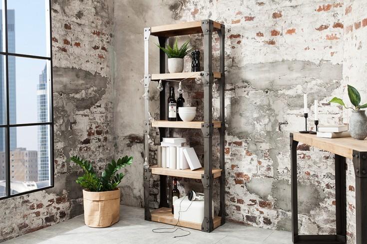 Massieve design boekenkast FACTORY 180cm acacia teak grijs wit ...