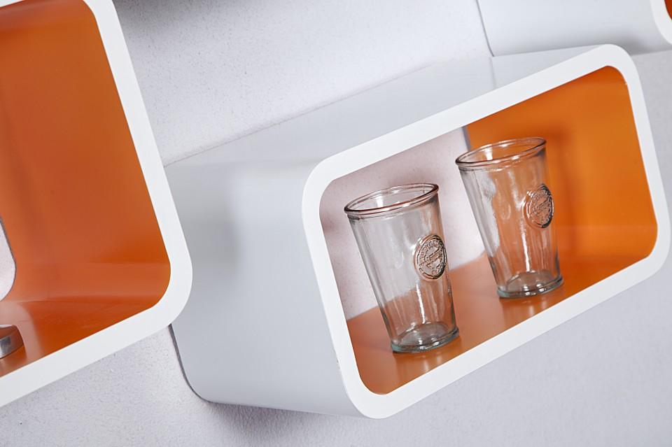 Wandplank Retro Cubes.Wandplank Model Club Cube 4 Er Set Wit Oranje 18050