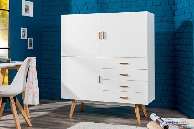Dressoir Eikenhout Modern.Design Dressoir Scandinavia 140cm Wit Met Echte Eiken