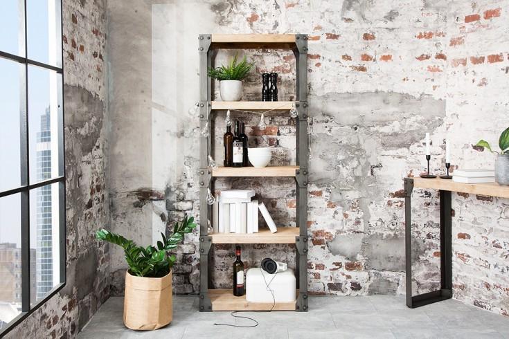 massieve design boekenkast factory 180cm acacia teak grijs wit gehoogd met metalen behuizing afbeeldingen