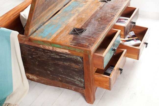 Massieve salontafel van gerecyclede houten vissersboten jakarta 70cm kleurrijke met lades - Exotisch onder wastafel houten meubilair ...