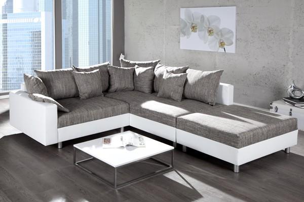 Loungebank model sonja hocker wit grijs - Bank wohnzimmer ...