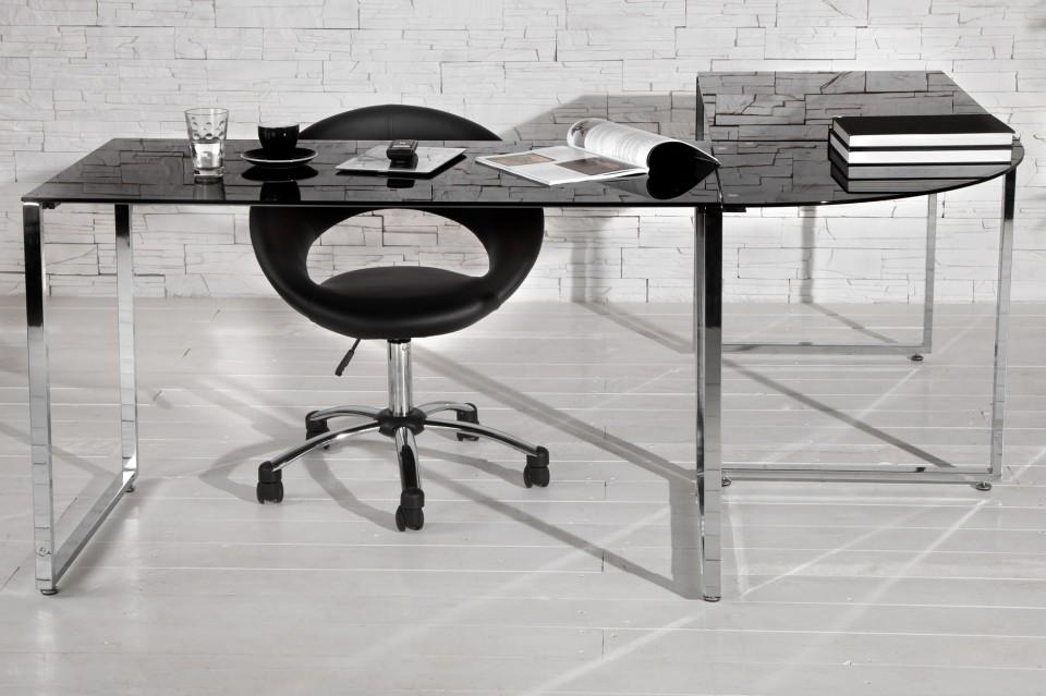 Bureau model studio zwart glas for Bureau en gros hours