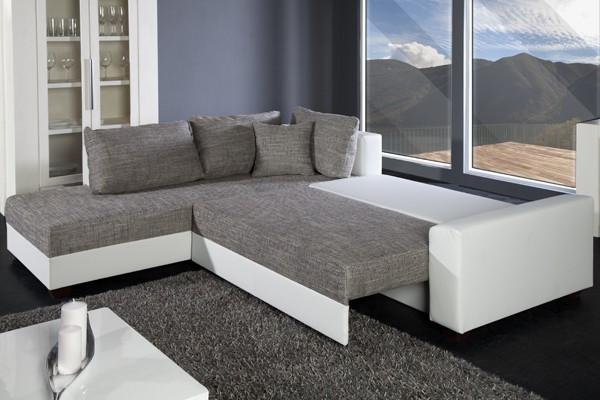Loungebank model apartment wit grijs - Moderne hoek lounge ...